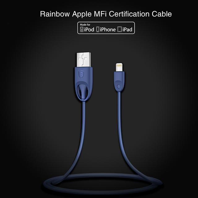 Baseus mfi cabo de carga rápida para o relâmpago para cabo usb para iphone 7 6 s 6 mais SE 5 linhas de Dados plano de Carregamento De Material TPU/PC