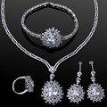 Nova ródio chapeado Conjuntos de Jóias de casamento Das Mulheres com cubic zircon 4 pcs conjuntos (colar + pulseira + brincos + anel) remessa livre