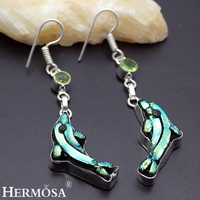 Hermosa Jewelry Christmas Gift 925 Sterling Silver Dolphin Modeling Dichroic Glass Green Topaz Beautiful Earrings HF749