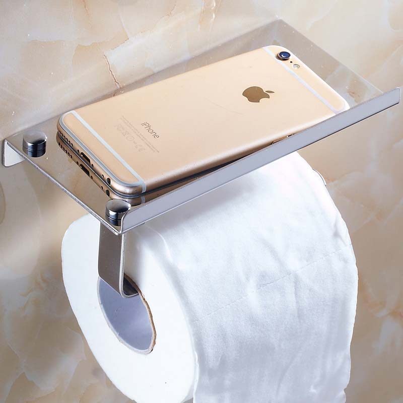 ASFULL Stainless Steel Tissue Holder Hanging Toilet Roll Paper Towel Rack  Mobile Phone Soap Shelf Bathroom Accessories In Storage Holders Racks.
