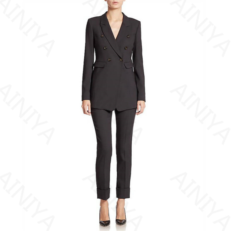 New Black 3 Piece Sets Women Pant Suits Double Breasted Uniform Designs Formal Style Office Lady Business Suits Work Wear Custom