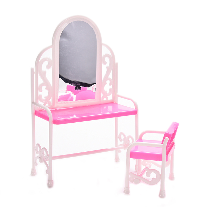 2PCS/ Set Fancy Classical Dresser Table Chair Kids Girls Play House Bedroom Toy Girls Accessories For Doll Furniture