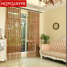 European luxury embroidered tulle curtains for Living Room sheer Voile curtains for Bedroom window tulle curtain Kitchen цена и фото