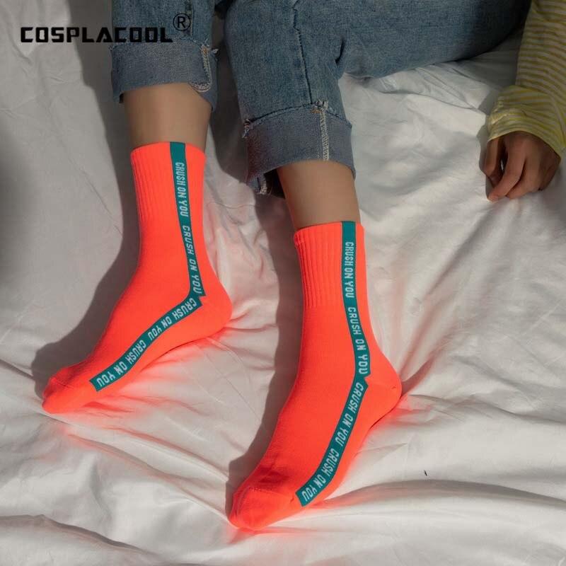 Letter Pattern Art Socks Women Candy Color Skateboard Harajuku Skarpetki Socks Breathable Cotton Socks Low Ankle Funny Sokken