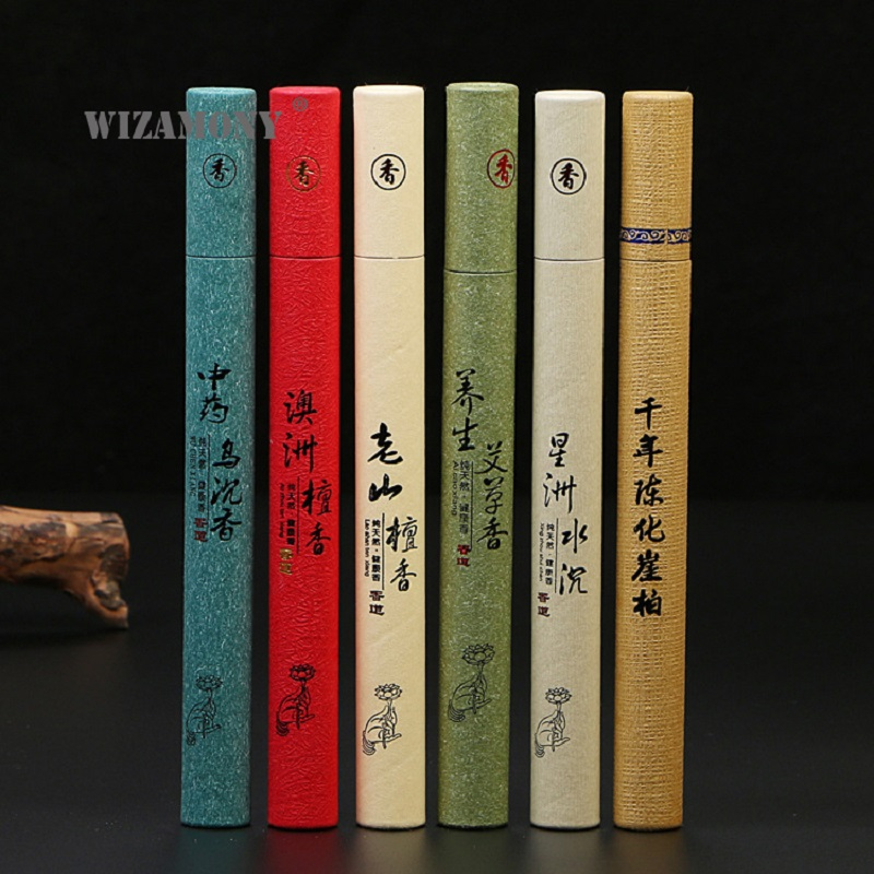 WIZAMONY Top Grade 21cm Sandalwood Stick Incense Suitable for Living Room Chinese Incense For Therapeutic Light Smell