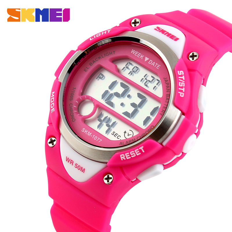 SKMEI Outdoor Sports Kids Watches Boy Alarm Digital Watch Children Stopwatch Waterproof Girls Wristwatches Montre Enfant 1077
