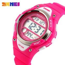 Skmei esportes ao ar livre crianças relógios menino alarme relógio digital crianças cronômetro meninas relógios de pulso à prova dwaterproof água montre enfant 1077