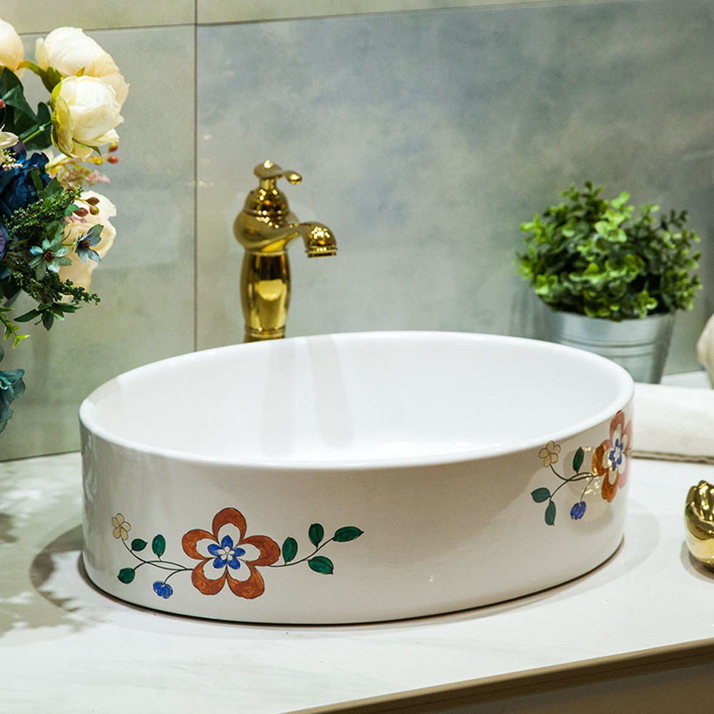 Bathroom above counter basin ceramic bathroom vanity bathroom sink basin hand-painted flower core LO620220