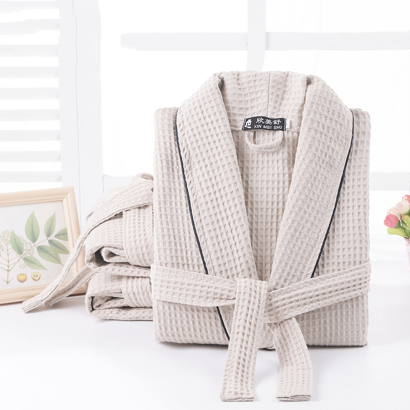 Men Bathrobe Summer 100% Cotton Kimono Bath Robe Suck Water Mens Dressing Gown Sexy Knitted Waffle Spa Robes Male Solid Bathrobe