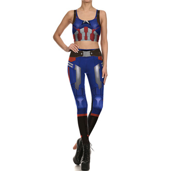 NEW 1645 Girl The Avengers Captain American Cosplay Prints Women Yoga Leggings Crop Top Vest GYM Fitness Sport Suit Yoga Sets