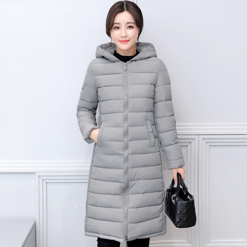 Nice Solid Color Hooded Long Jacket Plus Size 2XL Cotton Padded Coat Womens Casuall Outerwear Casaco Feminino Inverno