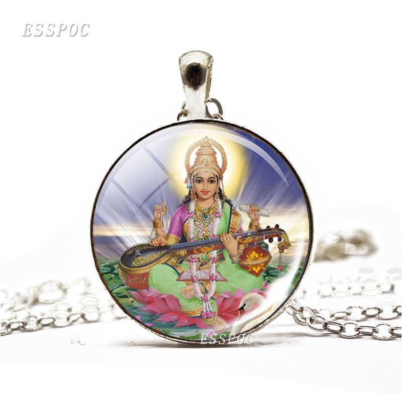 Phật Giáo Ấn Độ Ganesha Shiva Hình Kính Cabochon Mặt Dây Chuyền Mạ Bạc Dài Choker Áo Len Dây Chuyền Vòng Cổ Tặng cho Nữ