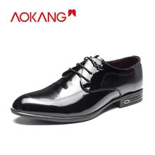 AOKANG 2018 Summer shoes men genuine leather derby shoes men high quality men dress shoes fashion wedding men shoes lace-up