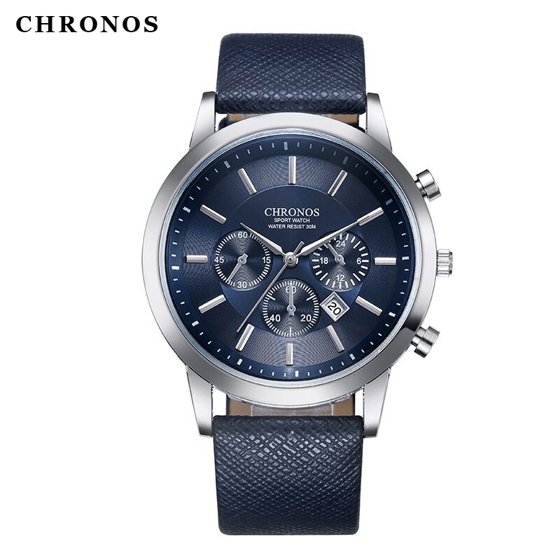 Relogio Masculino CHRONOS Men Wrist Quartz Watch Ultra Slim Waterproof Quartz-watch Clock Reloj De Los Hombres Reloj Hombre
