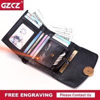 GZCZ Fashion Small Wallet Women Genuine Leather Wallets Free Engraving Wallet Female Coin Purse Clamp For Money Dropshopping