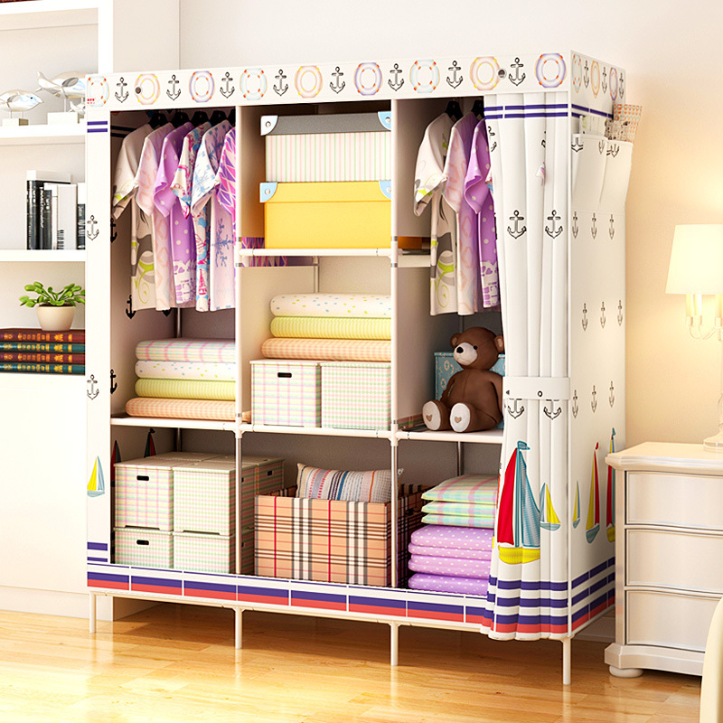 Fashion Modern Cloth Wardrobe Closet DIY Reinforcement Steel Pipe Storage Cabinet Clothing Hanging Storage Closet