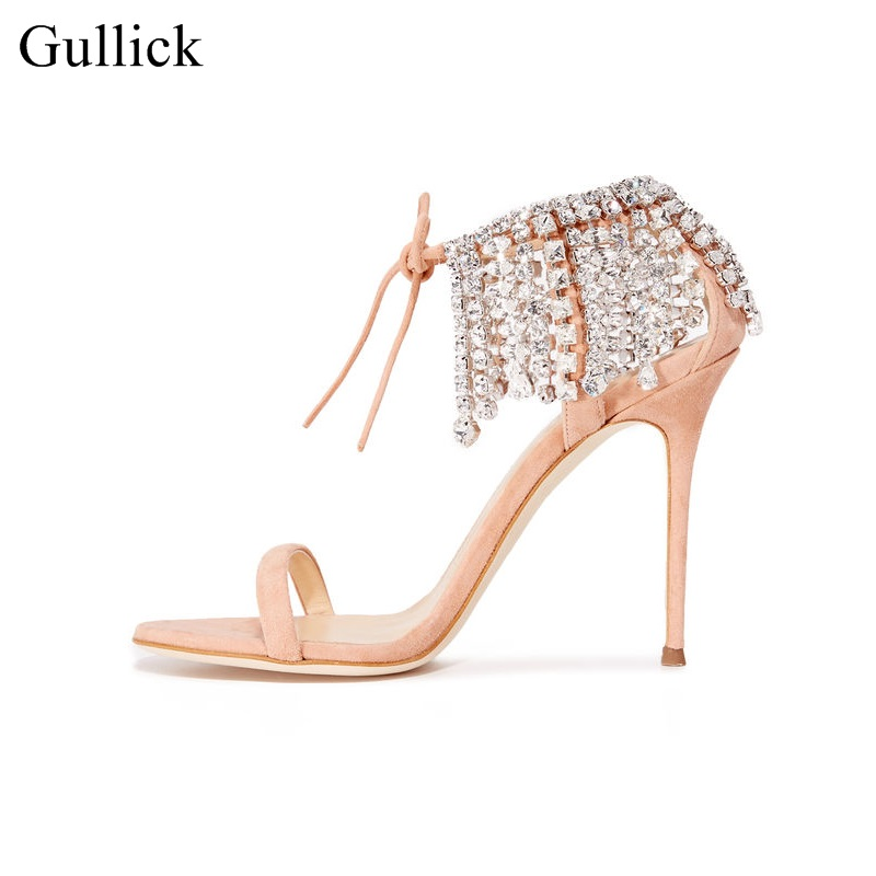 New Arrivals Woman Crystal Ankle Wrap Sandals Cut Out Lace