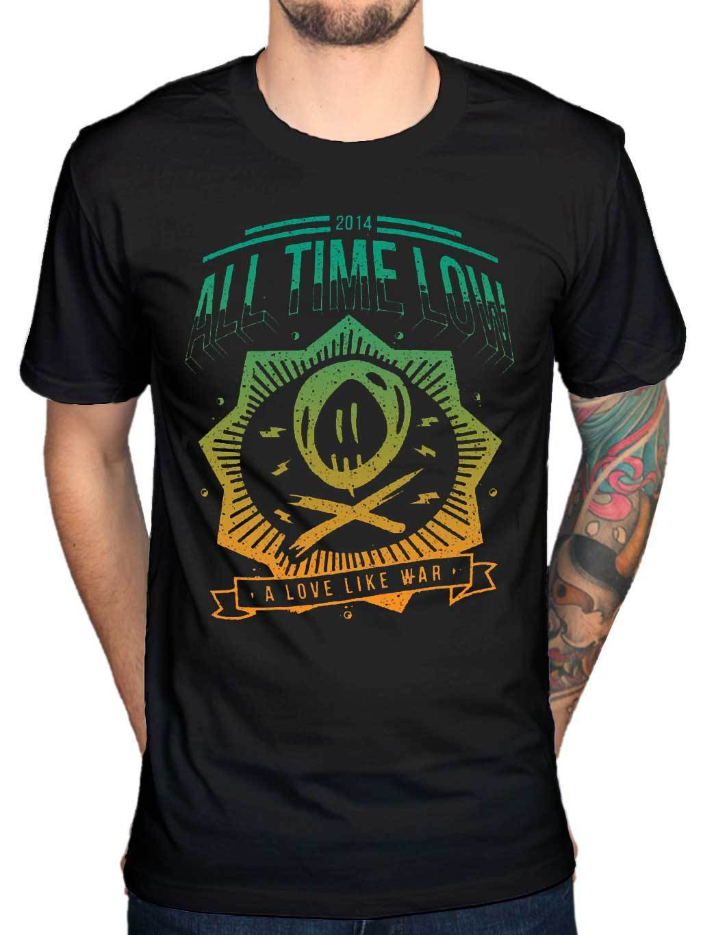Official All Time Low New Wave T-Shirt A Love Like War Glamour Kills Panic Sale 100 % Cotton T Shirt TOP TEE