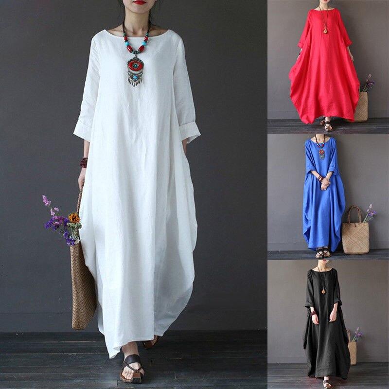 Женские весенне-летние пляжные сарафаны богемное вечернее платье длинное хлопковое свободное Макси платье синий красный белый