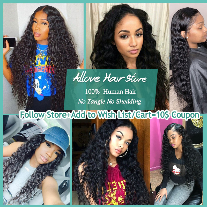 Allove Brazilian Water Wave Bundles With Closure 4PCS/LOT Human Hair Bundles With Closure 4x4 Non Remy Hair Free Shipping-in 3/4 Bundles with Closure from Hair Extensions & Wigs    2