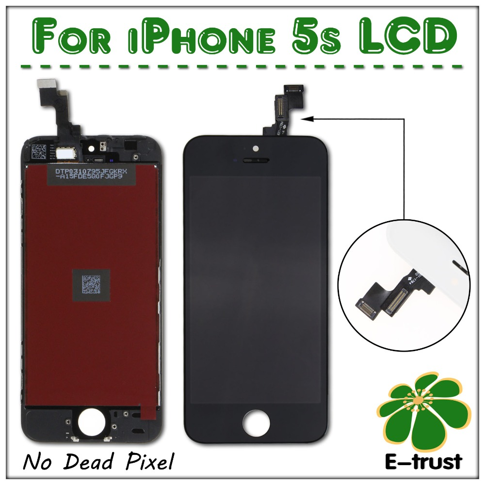 No dead pixel 50 PCS LOT LCD for iPhone 5S display with touch screen digitizer assembly