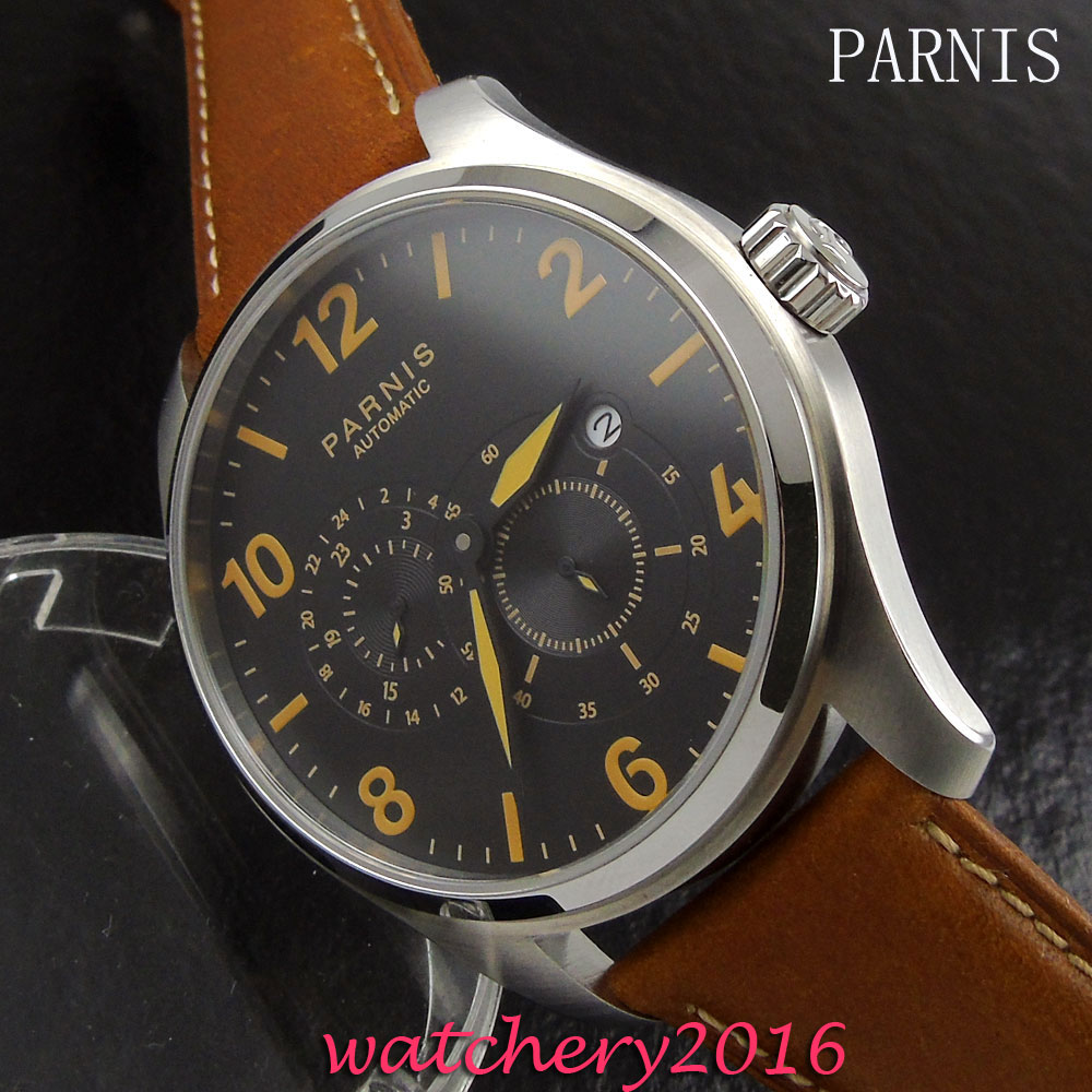 44mm Parins Black dial sapphire glass mens watches top brand luxury automatic mechanical date automatic movement Men's watch mens watches top brand luxury automatic mechanical luxury chronograph dial moonphase automatic watch