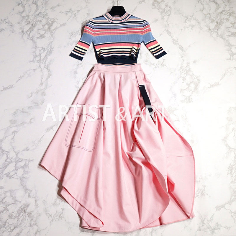 1Svoryxiu Designer Summer Skirt Suit Womens Colours Striped Expose Waist Knitting Tops + Asymmetrical Pink Maxi Skirts Set