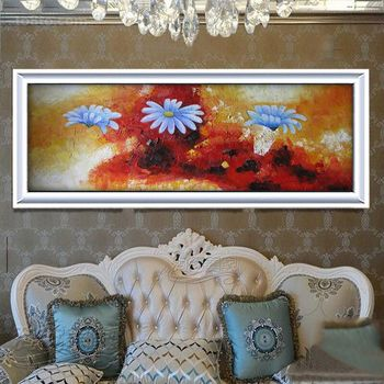 Beautiful Handpainted Abstract Oil Painting Art Blue Flower Paintings On Canvas Modern Picture Painting For Living Room Decor