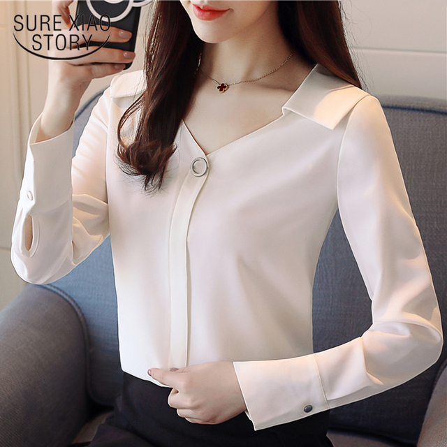 2018 new spring fashion long sleeved blouses chiffon shirts office lady women tops v-neck blouses solid white clothing D467 30