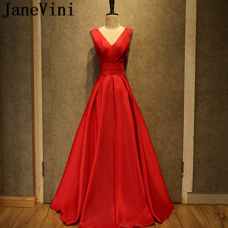 JaneVini 2018 Red Long   Bridesmaid     Dresses   A Line Pleat Sleeveless Lace-up Back Floor Length Simple Wedding Guest   Dress   Plus Size