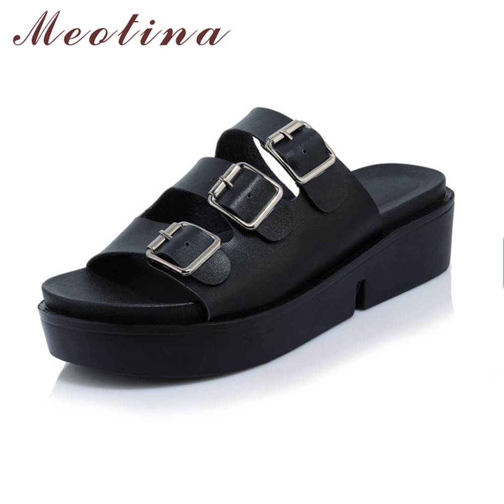 Black sandals size 11 - Meotina Summer Sandals Shoes Women Platform Wedges Rome Gladiator Sandals Buckle Wedge Slippers Causal Ladies Slides Big Size 11