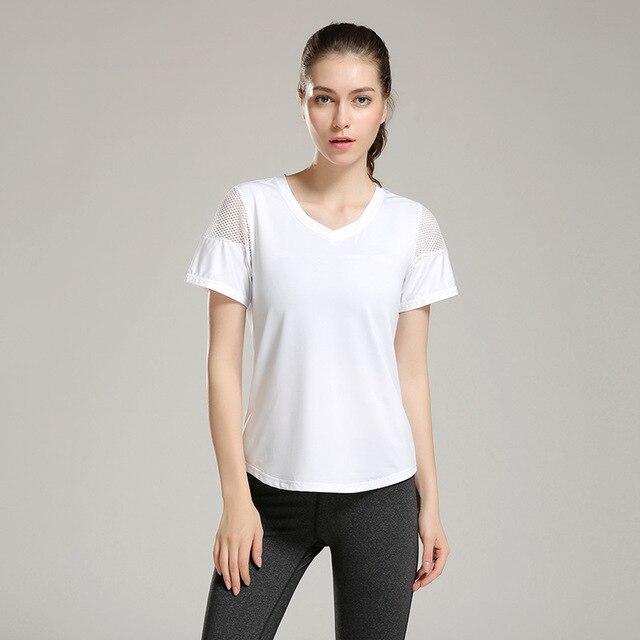 Eshtanga woman short sleeve shirt  Elastic Yoga Mesh Sports T Shirt Fitness Women's Gym Running Black Tops tee free shipping 5