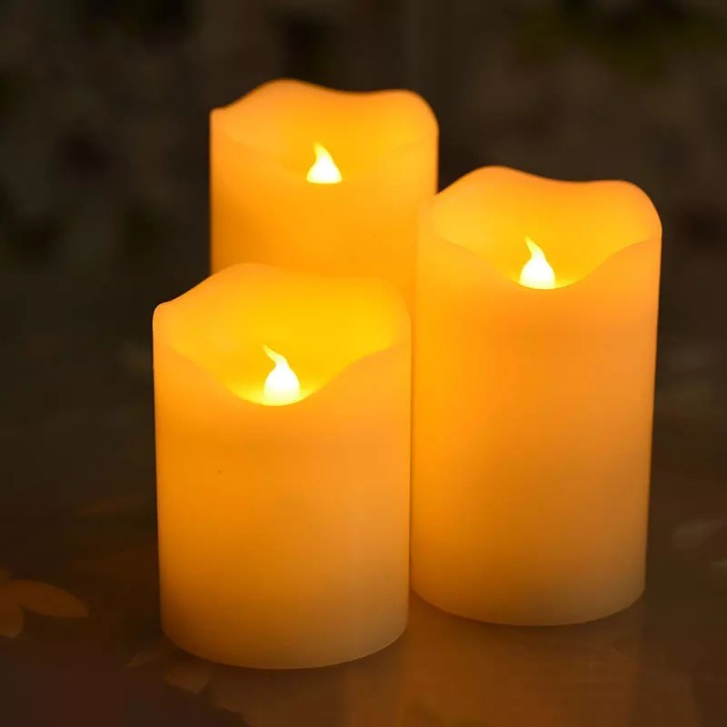 dia. -amber Elegant Shape Well-Educated Set Of 3 Flameless Aaa Battery Led Pillar Candle Paraffin Wax Wavy Edge Night Lamp Home Wedding Party Decor 7.5cm
