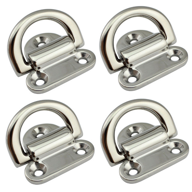 6mm Folding Deck Pad Eyes lashing d ring Tie Down Point Anchor Fixing Cleat Plate Mirror Polish Marine Grade 316 Stainless Steel