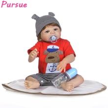 Pursue 22″/57 cm Boy Soft Vinyl Silicone Dolls Reborn Baby Bath Dolls Blond Hair Magnetic Mouth Children Gift Newborn Baby Doll