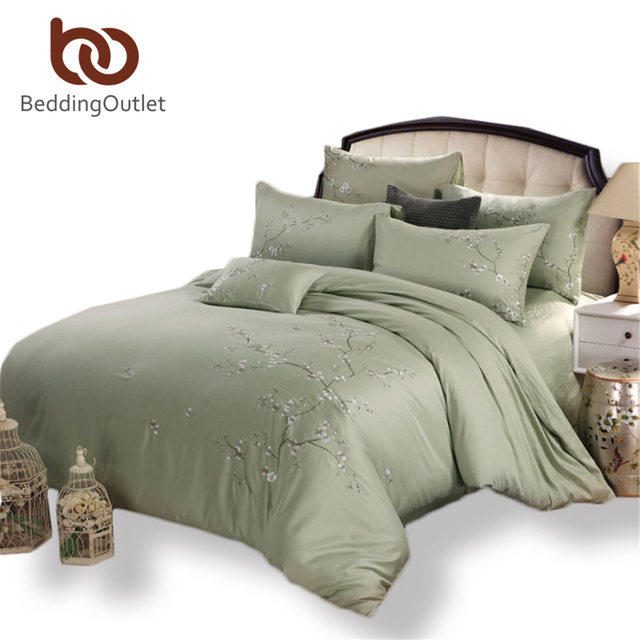 Good BeddingOutlet Bamboo Bedding Set Soft Cotton Bed Linen Fade Resistant  Embroidered Duvet Cover Queen King Size