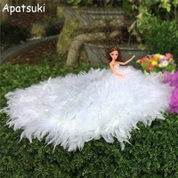 High Quality Lurxury Formal Wedding Dress For Barbie Doll White Feather Party Dress Clothes For Barbie
