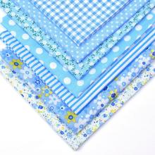 7Pcs 25cmx25cm Blue Floral Dot Cotton Printed Fabric Sewing Quilting Fabrics for Patchwork Needlework Handmade Material