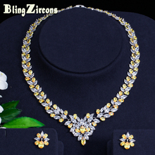 BeaQueen Nigerian Design Yellow And White Marquise Cut CZ Necklace Earrings Women Wedding Jewelry Sets for Brides JS026