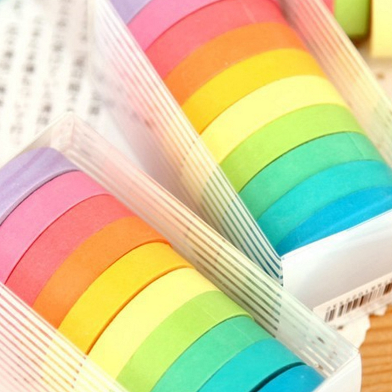Washi Tape Set Diary Scrapbooking Decorative Adhesive Masking Tapes DIY Rainbow Colorful Sticky School Supplies Japanese 10pcs