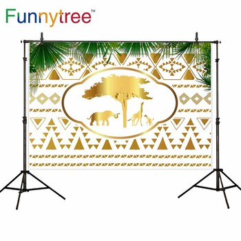 Funnytree backdrop for photographic studio wild one golden Indian pattern safari party birthday background photobooth photocall image