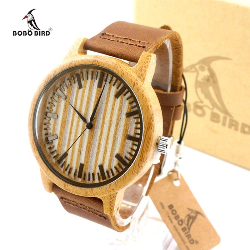 a0bea1b3fb0 BOBO Top PÁSSARO De Bambu Mens Relógios Pulseira de couro Genuíno Relógios  De Pulso De Madeira