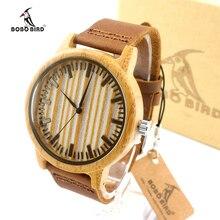 Marca de lujo de Bambú PÁJARO BOBO Reloj Con cuero Genuino del Zurriago de Los Hombres y Las Mujeres Reloj Correa de Cuero del relogio masculino Reloj