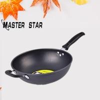 Master Star 32CM Cast Iron Woks For Kitchen Non stick Black Iron Pan