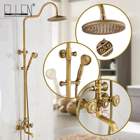 Classic Luxury Bathroom Shower Set Rain Bath Shower Mixer with Hand Shower Wall Mounted Rainfall Shower Mixer Taps Retro Style