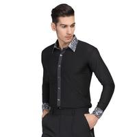 Long Sleeve Button Mens Latin Dance Top Ballroom Dancewear Latin Dance Costumes Stage Clothing Male Ballroom Clothes D 0638