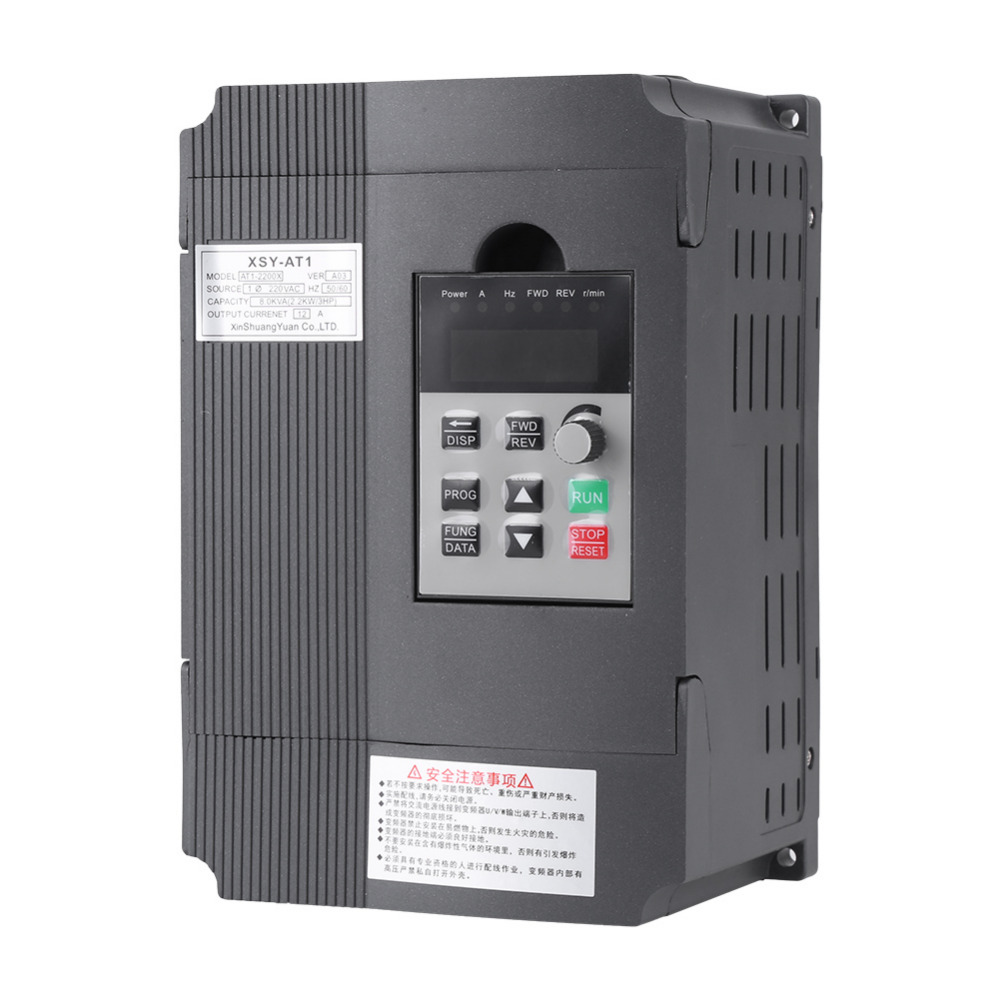 AC 220V 12A Variable Frequency Drive VFD Speed Controller Frequency Converter for 3-phase 2.2kW AC Motor
