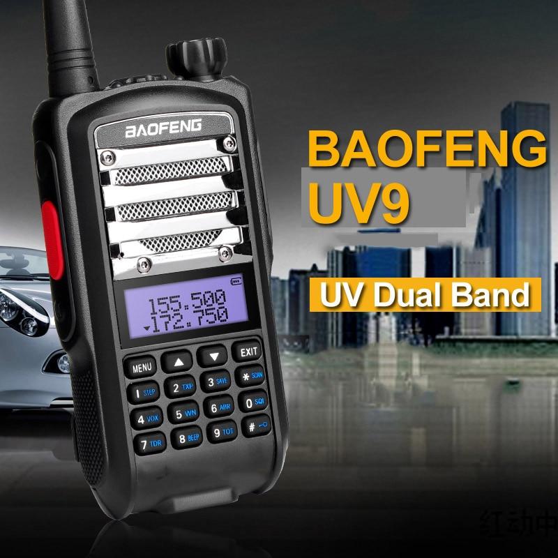 imágenes para Nueva baofeng uv5r uv9 vhf uhf walkie talkie 8 w de alta potencia uv Dual Band Radio de Dos Vías Portable Pulsar Para Hablar PTT Con La Linterna