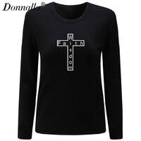 Donnalla Women T Shirt O Neck Long Sleeve New Cotton Shirt Faith Wisdom Letter Print Woman