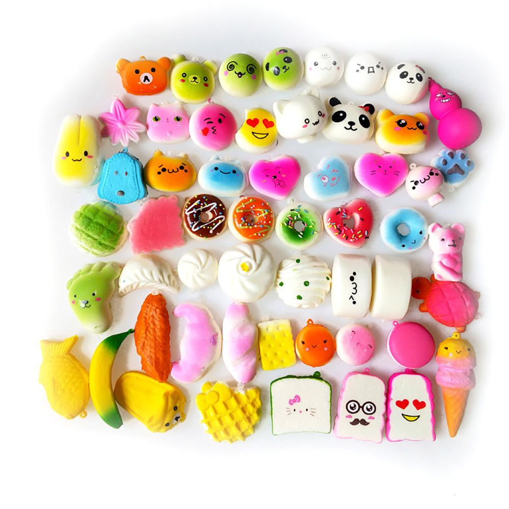 Mobile Phone Accessories 10pcs Funny Cute Kawaii Bread Loaf Cake Bun Donuts Ice Cream Squishy Slow Rising Toy Anti Stress Anxiety Random Style Mobile Phone Straps